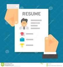 Resume Vector Flat Design Hand Holding Resume For Interview Stock Vector Image