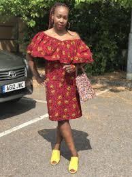 new african fabric ankara summer dress women size 12 16 uk red