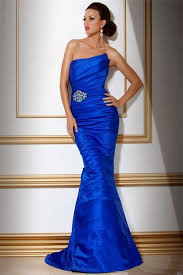 strapless long royal blue tiered evening wear dress with beading