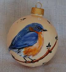 painted glass ornaments bluebird