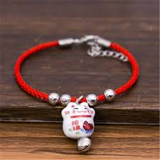 ceramic bracelet fashion images Chinese lucky cat bell bracelet female simple national style red jpg