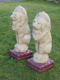vintage pair of large lions garden statues garden ornaments