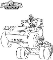 power rangers spd riding motorcycle coloring print