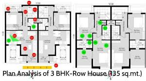 Row Houses Floor Plans Plan Analysis Presenting Details Of 3 Bhk Row House