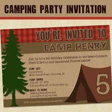 camping invitation camping party printable birthday invitation