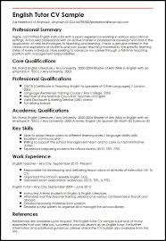 Resume In English Examples by Sample Resume For English Teacher Job Templates