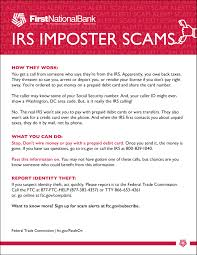 the first national bank in sioux falls irs imposter scams