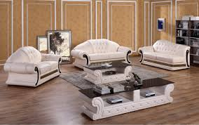 Sofa Set Casa Suzanne Classic Cream Leather Sofa Set