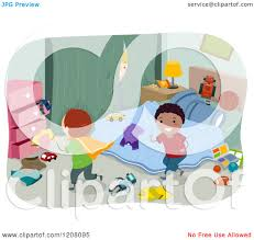 messy bedroom clipart