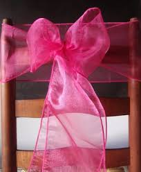 Purple Chair Sashes Fuchsia Pink Organza Chair Sashes Bows Table Runners