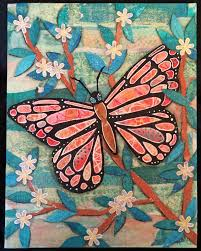 paperocotillostudio gelli printing with junk and a big butterfly