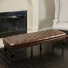 buy marcel tufted brown leather top ottoman bench by gdfstudio on
