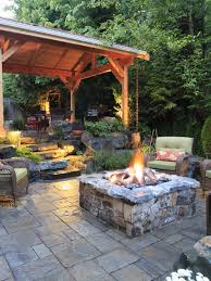 backyard patio designs paving with firepit garden ideas design