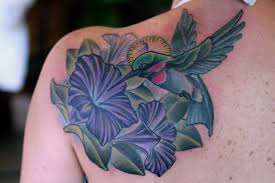 hummingbird n hibiscus tattoo on back of shoulder in 2017 real