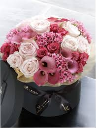 luxury flowers luxury and calla hatbox purple lilac flowers shop