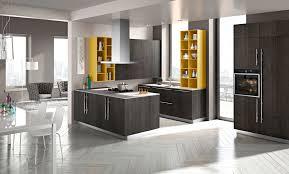 black cabinetry using grey granite countertop in cool u shaped