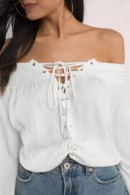 white blouses top lace up top shoulder top white blouse 76