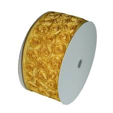ribbon with wire 4 wide x 10 yards petal rosette ribbon with wire edge gold