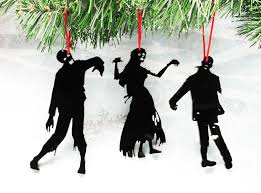 silhouette ornaments set of three black