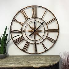 large gold nautical compass skeleton wall clock antique shabby