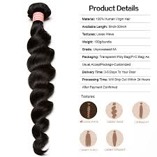 8 Inch Human Hair Extensions by Brazilian Virgin Human Hair Extensions Loose Wave 3 Bundles With 1