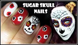 halloween nail design sugar skull nail art tutorial mexican day of
