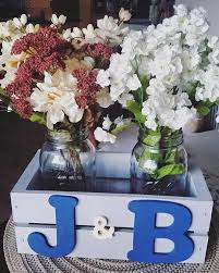 jar floral centerpieces rustic personalized initial crate with jars floral