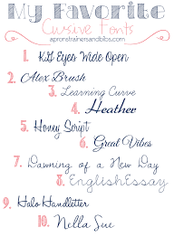 my favorite cursive fonts aprons trainers and bibs 10 free