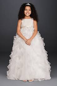 ruffle girl organza flower girl dress with ruffled skirt david s bridal