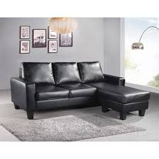 the hom 2 piece black georgetown bi cast leather sectional sofa