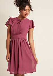 flutter style dress surplice a line dress with flutter sleeves in jam modcloth