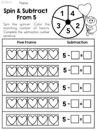 spin u0026 subtract from 5 u003e u003e part of the valentine u0027s day kindergarten
