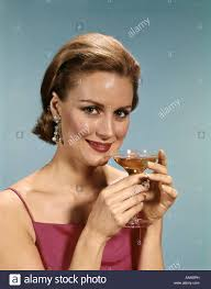 martini liquor 1960s woman drink cocktail alcohol martini liquor dress smile