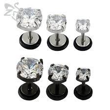 stainless steel stud earrings cubic zirconia earrings cz earrings black jewellery stainless