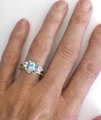 Aquamarine Wedding Rings by Cushion Cut Aquamarine Engagement Rings In Three Stone Design With
