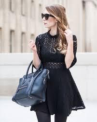 ootd black lace dress céline luggage tote la petite noob a