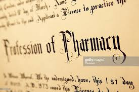 closeup of a degree certificate for the profession of pharmacy