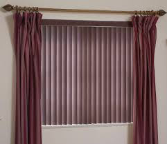 brown fabric vertical blinds for window treatments with red fabric