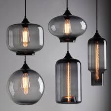 Glass Ceiling Lights Pendant Modern Industrial Smoky Grey Glass Shade Loft Cafe Pendant Light