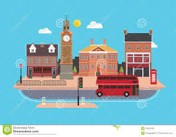 design style city street in a flat design stock vector image 53602924