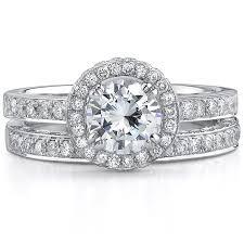 gold bridal sets natalie k 14k white gold diamond halo br
