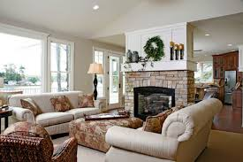 Custom  Living Room Design Brick Fireplace Decorating - Living rooms with fireplaces design ideas