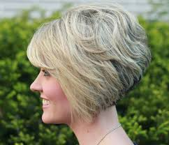 side view of blended wedge haircut gorgeous stacked bob hairstyle with side swept bangs for thick