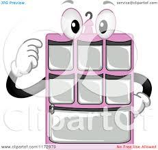 cartoon of a pink hanging closet organizer mascot royalty free