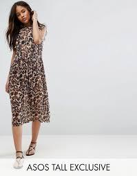 tã ll brautkleider gesmoktes kleid aus netzstoff mit animalprint damen