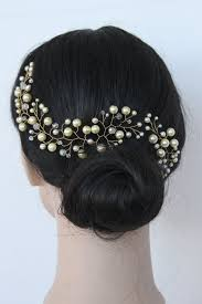 hair ornaments ivory pearl hair vine with swarovski crystals crown by annapanik