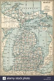 Michigan State Map Old Map Of Michigan State 1930 U0027s Stock Photo Royalty Free Image