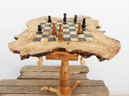 chess table olive wood chess table wooden rustic exotic chess board set