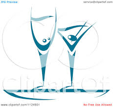 martini illustration clipart of teal champagne and martini glasses royalty free