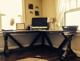 diy corner desk using ana white fancy x desk plan perfect with a